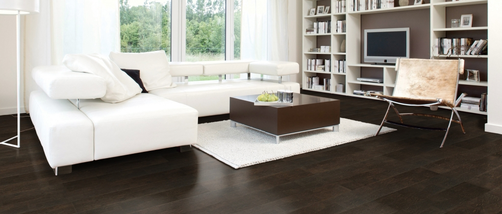 Living Room with Coastline Florence Designer Cork Wide Plank Flooring