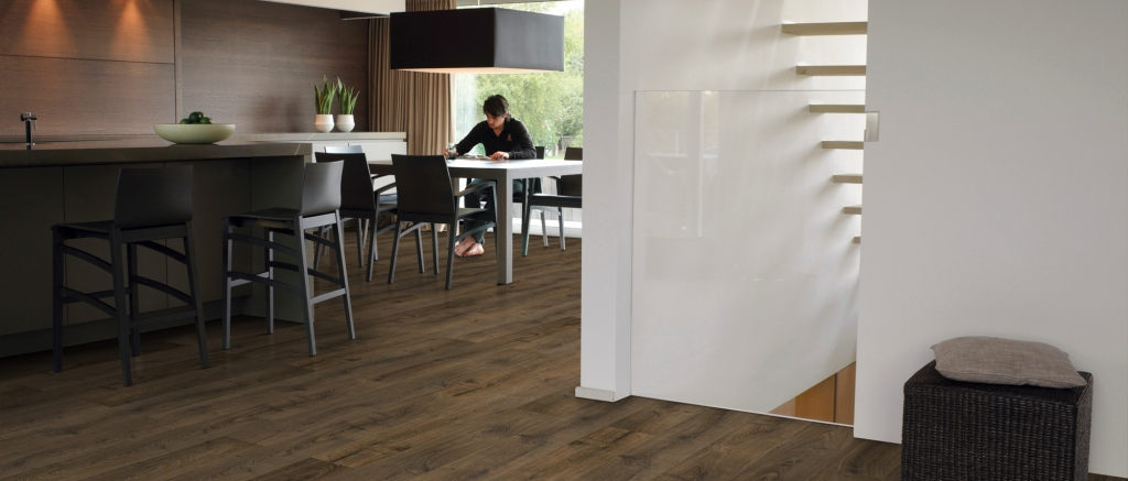 Dining Room with Cambridge Oak Dark Largo Wide Plank Laminate Flooring