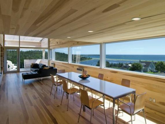 Natural wood flooring and maple hardwood flooring in a sliding house