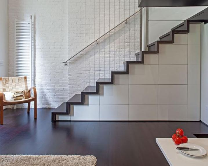 Dark Wood Flooring is a great fit in this New York Microloft featured on the Residential Architect site.