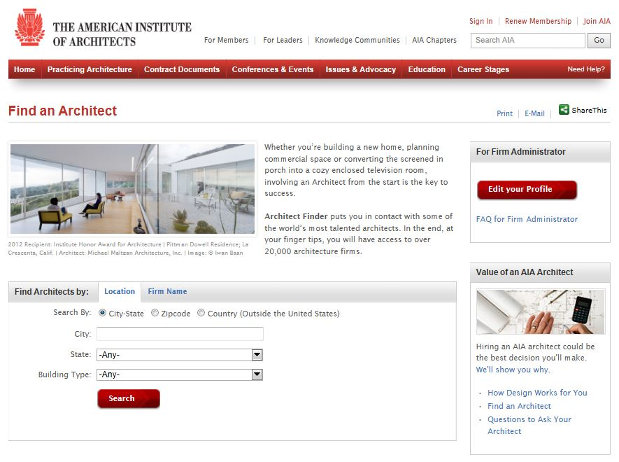 Find an Architect with the American Institute of Architects