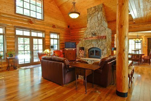 Rocky Mountain Log Homes Provided Hand Peeled Pine Logs That Were Finished To Match The Rest Of Woodworking You Can See Caving Marks