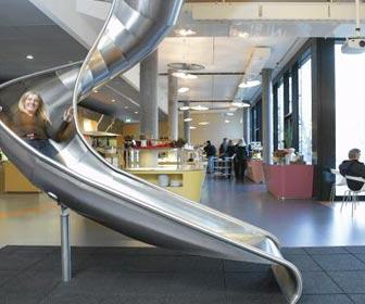 Slide in Google's Zurich office on Carlisle Wide Plank Floors Blog