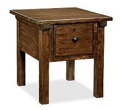 Sawyer Side Table from Pottery Barn on Carlisle Wide Plank Floors