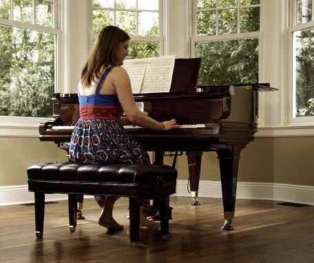 Vintage Pianos with Dark Wood Floors from CArlisle Wide Plank Floors