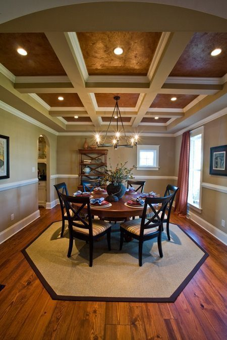 Coffered Ceiling with Heart Pine Floors from Carlisle Wide Plank Floors.