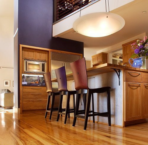 Hickory Wood Floors and Colorful Accent Wall from Carlsle Wide Plank Floors