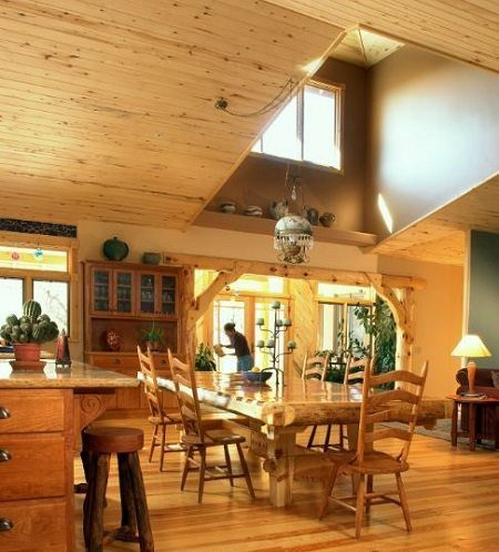Vaulted Ceilings with Heart Pine Flooring from Carlisle Wide Plank Floors