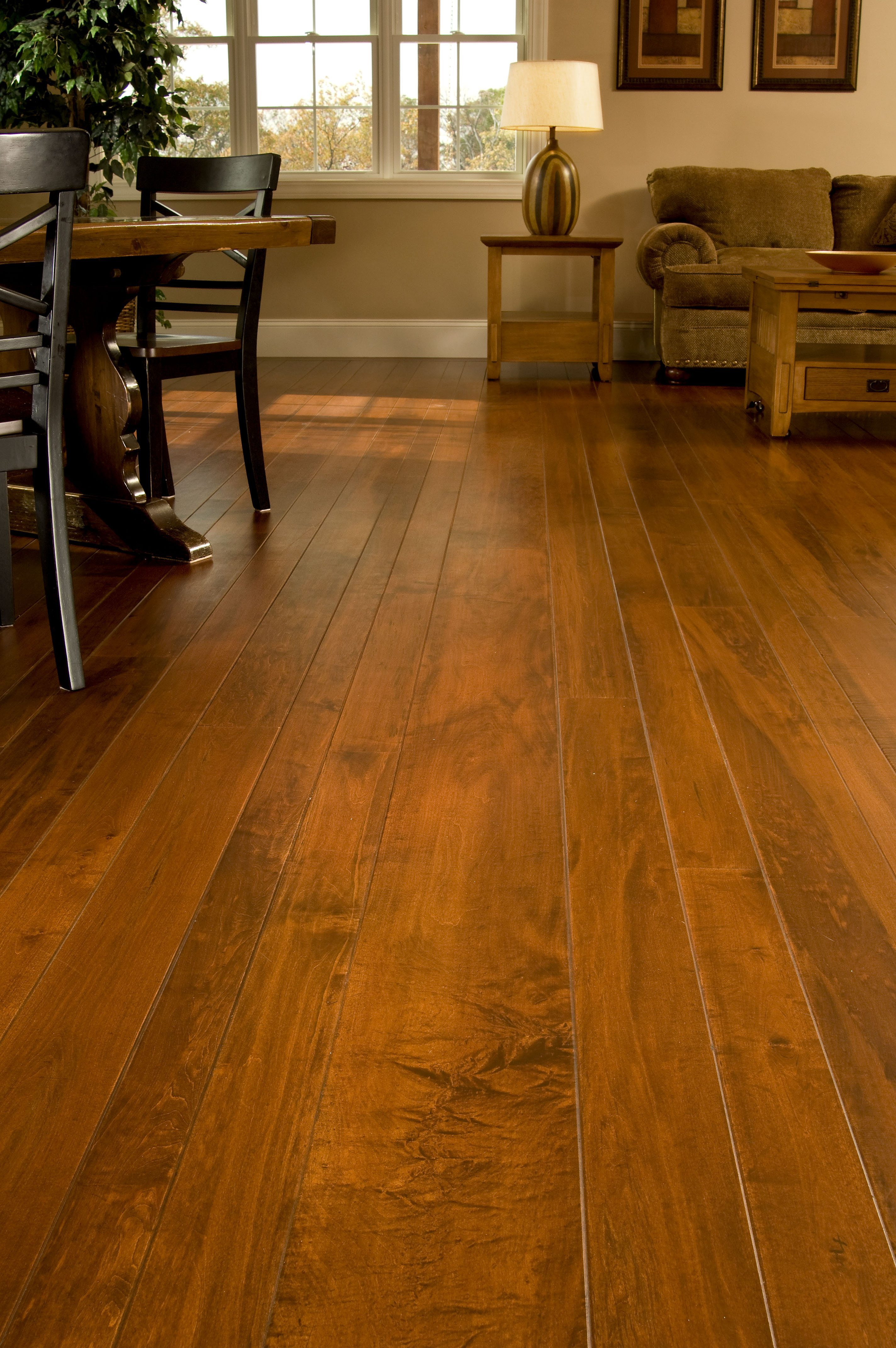 Brown Maple Hardwood Flooring In A Living Room
