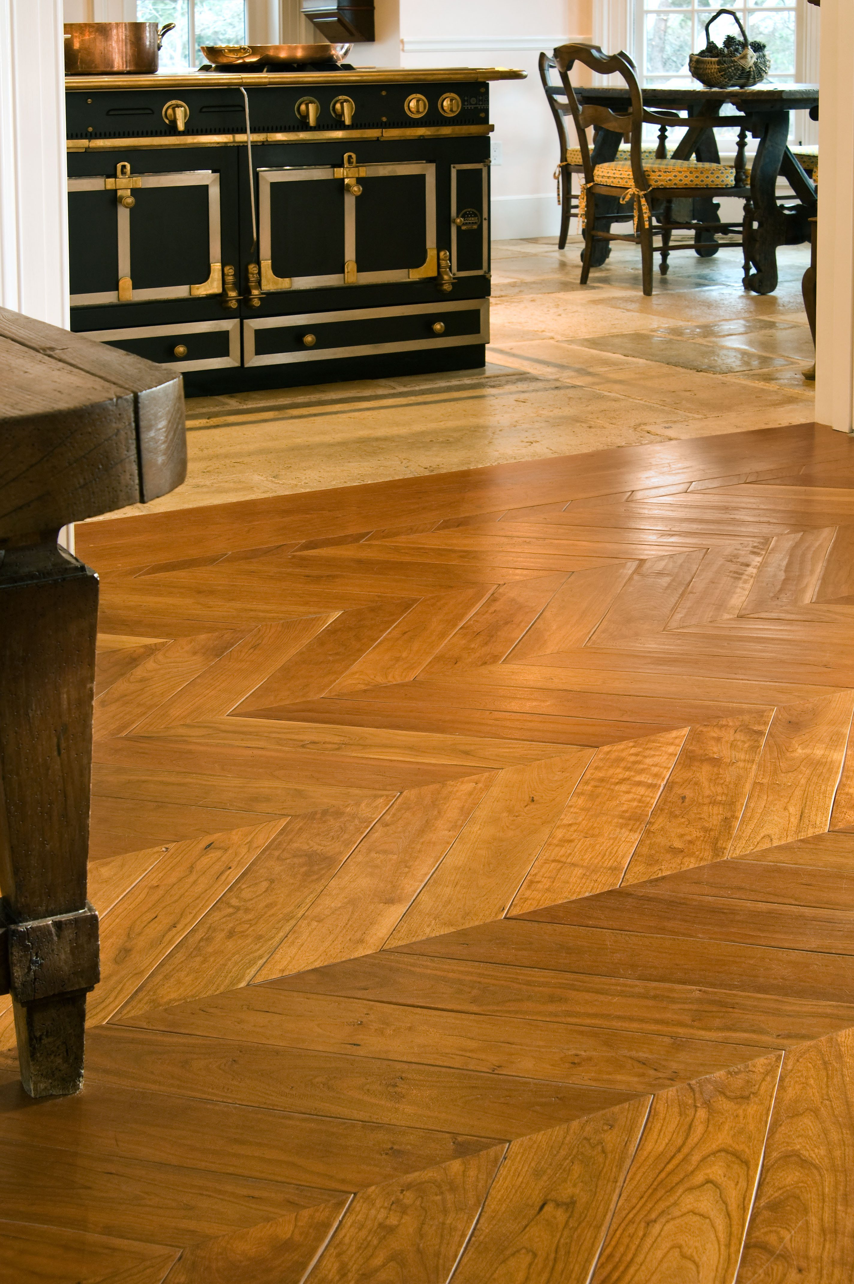 Cherry Chevron Solid Wood Floors In A Heritage Kitchen