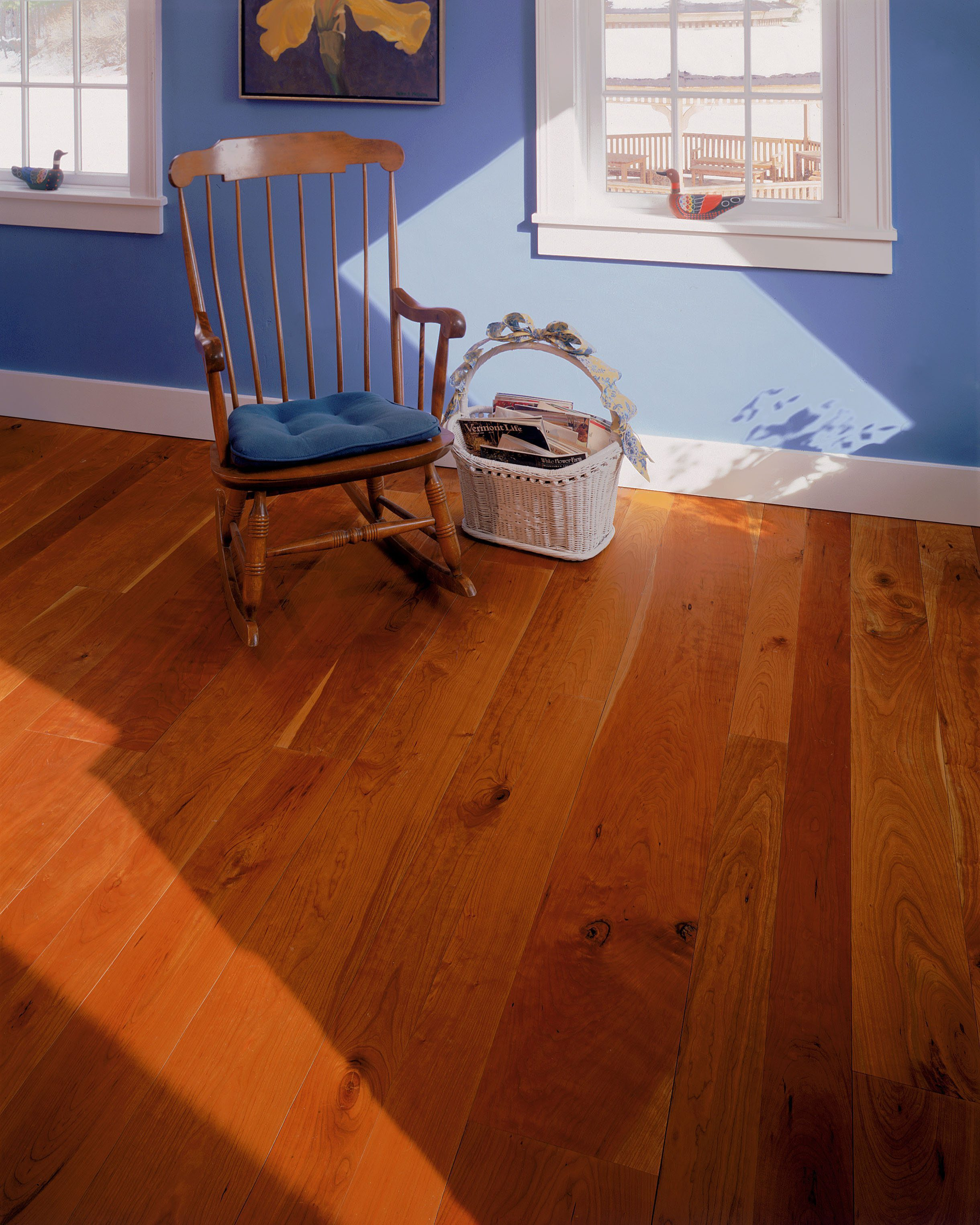 Cherry Solid Wood Flooring In A Sitting Room