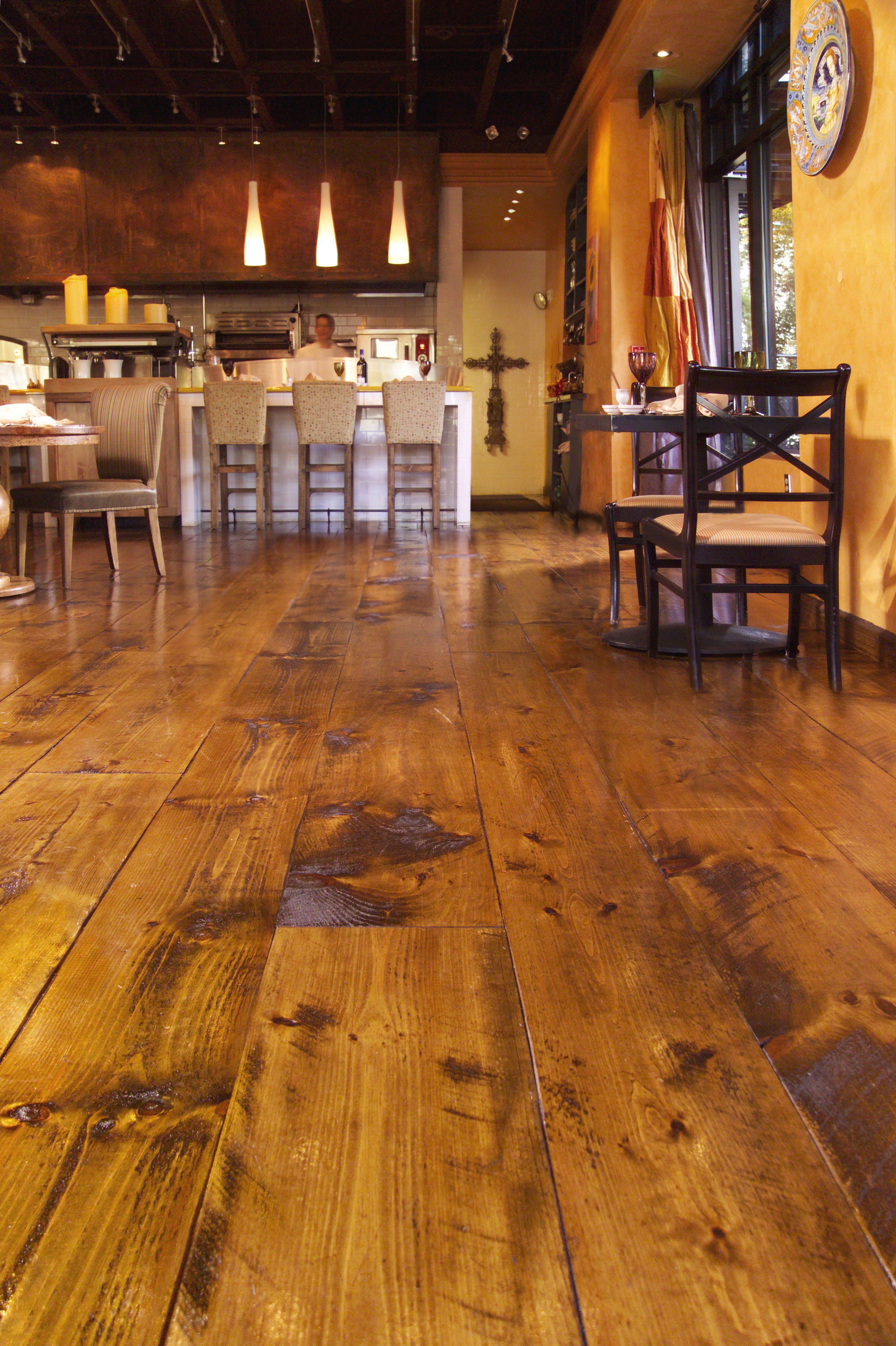 Eastern Hit Or Miss White Pine Floors In A Restaurant